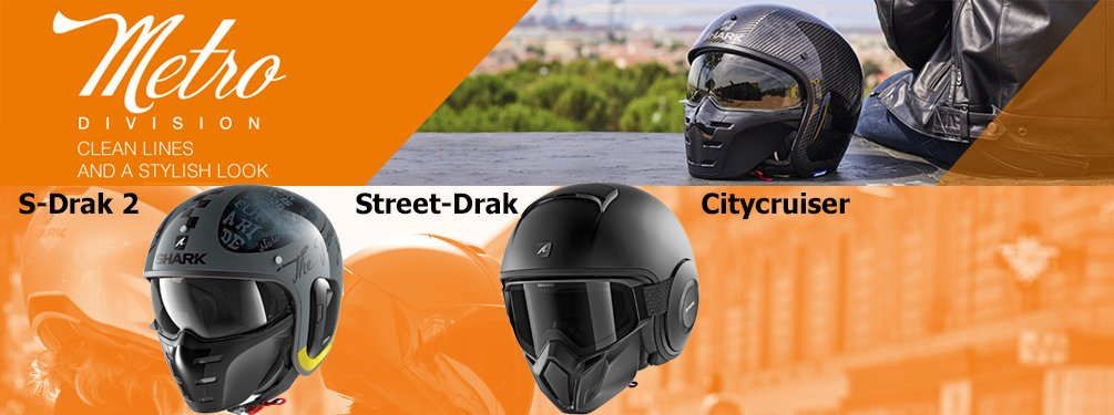 Shark Metro Division - open face helmets with a clear line and a stylish look