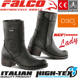 Falco Women's Motorcycle Boots AYDA 2 leather waterproof with D3O ankle protectors and CE certification